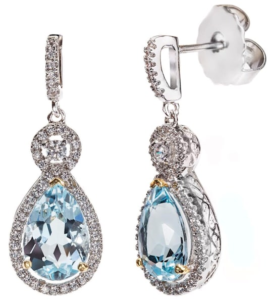 Silver Blue Topaz Victorian Teardrop Earrings