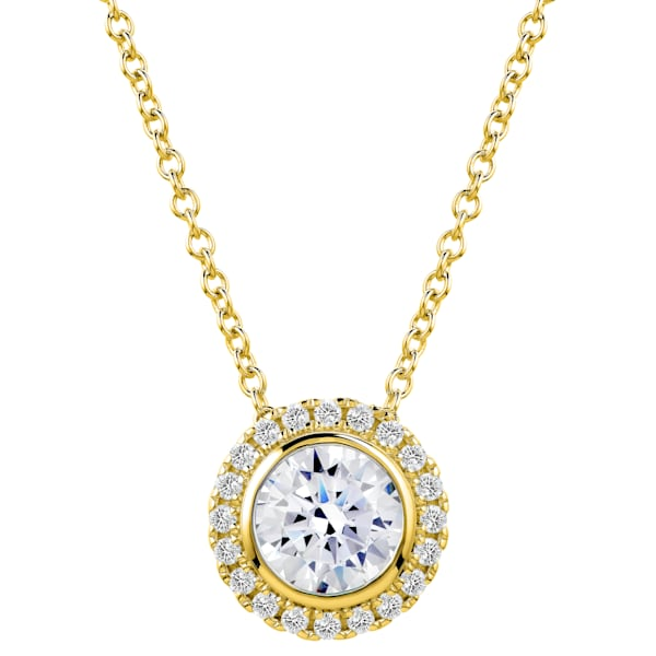 18 KGP 2 Carat Round Pendant Necklace Bling by Wilkening