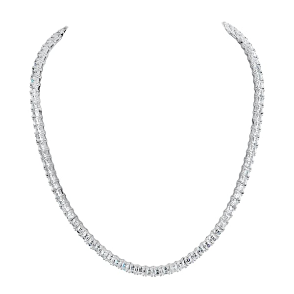 Silver Asscher-cut Couture Tennis Necklace