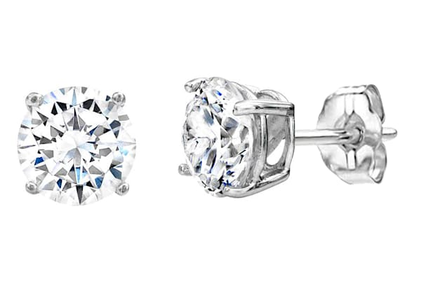 Sterling Silver 2 Carat Medium Solitaire Studs