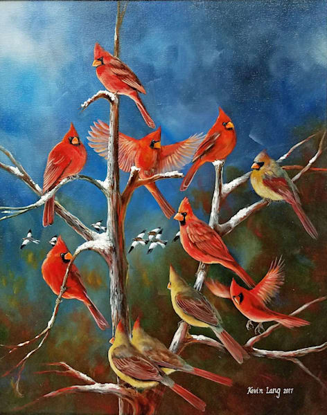 Cardinal Family Tree Art | Kevin Lang Fine Art