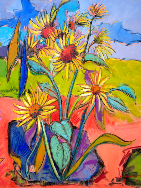 Whimsical Sunflowers Art Print Painting by Dorothy Fagan