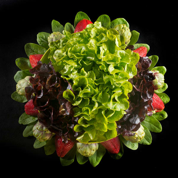 Strawberries, Spinach, Lettuce and Artichokes Mandala