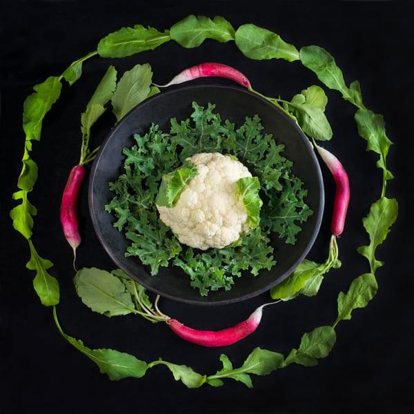 Radish, Arugula and Cauliflower Mandala