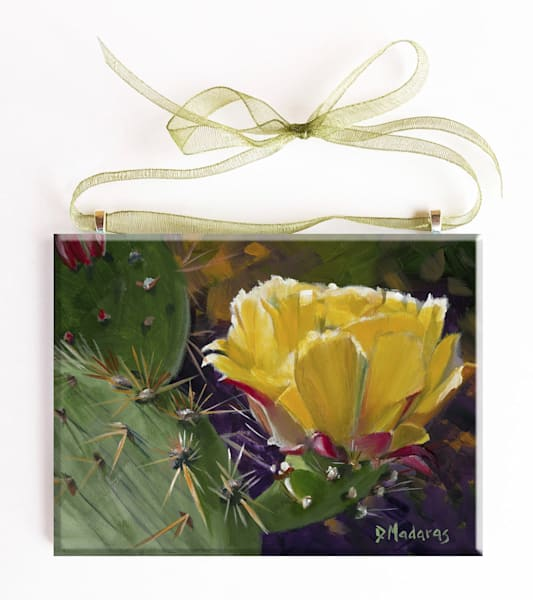 Prickly Pear Bloom Glass Ornament Tucson