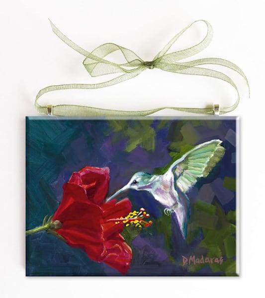 Hummingbird and Hibiscus Glass Ornament