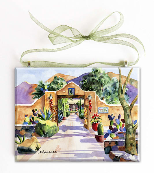 Hacienda Gate II Glass Ornament by Diana Madaras