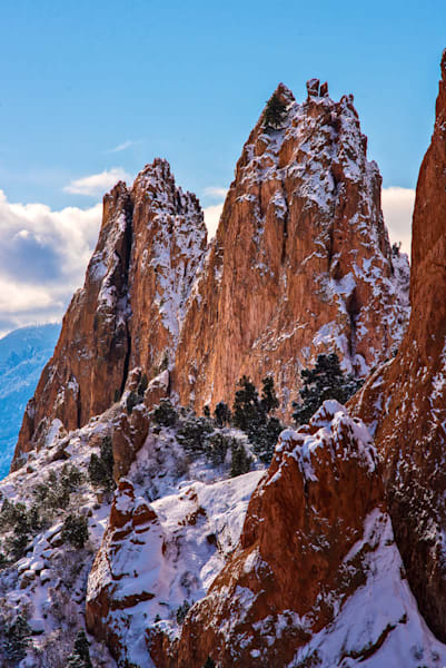 Fresh morning snow and sunshine on Grey Rock in Garden of the Gods Park, Colorado Springs, CO