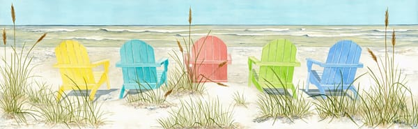 A  print on fine-art paper of five brightly-colored Adirondack chairs on the beach.  Watercolor by artist Sandra Galloway