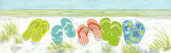 Print from a watercolor painting by Sandra Galloway of colorful flip flops on the beach. Mounted on  fine-art paper.