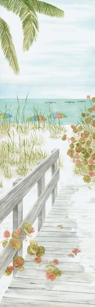 Print from a watercolor painting by Sandra Galloway of a beach boardwalk and umbrellas on the beach. Mounted on  fine-art paper.