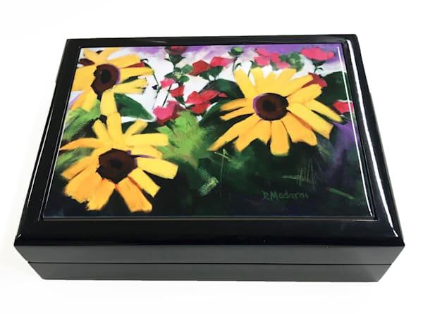 Three Sunflowers Wooden Keepsake Box Black