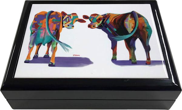 Beatrice & Barney Cow Keepsake Box Black