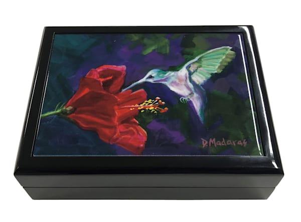 Hummingbird & the Hibiscus Keepsake Box Black