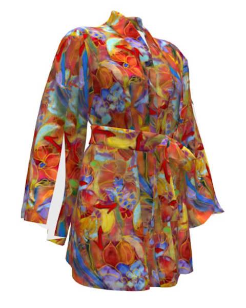 Hand Painted Iridescent Ruby Slippers Kimono Jacket Robe
