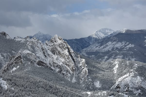 Winter photograph of the Shark's Teeth peaks from Swede Creek for sale as Fine Art