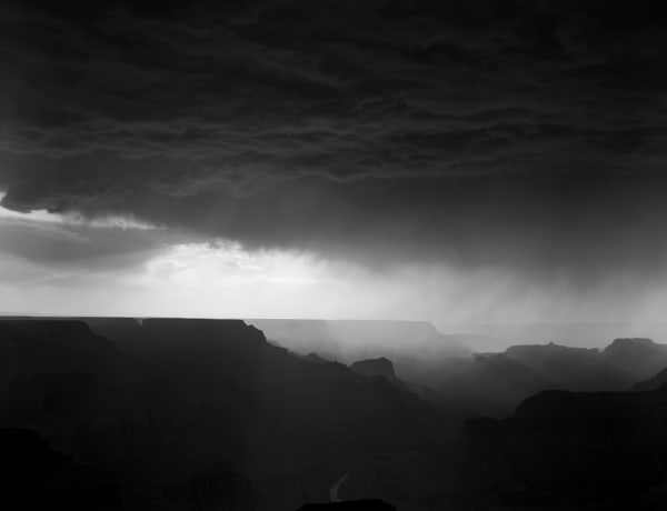 Monsoon storm crossing over the canyon, from Lipan Point, Grand Canyon National Park,