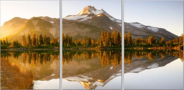 Mt. Jefferson Sunrise (1810264TLNND8) Mountain Triptych Photograph for Sale as Fine Art Print