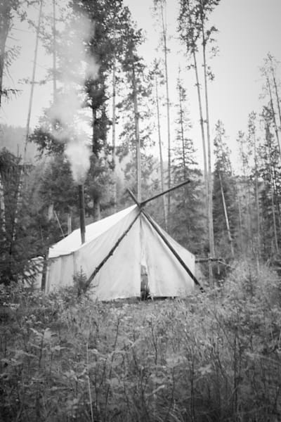 Black and White Photograph of a wall tent for sale as Fine Art