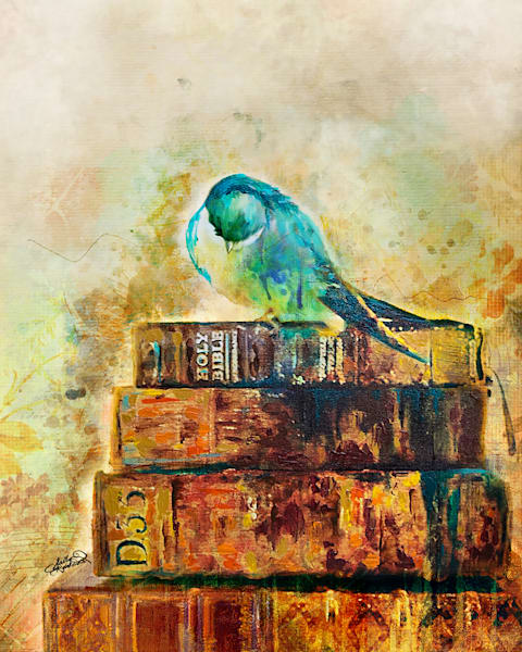 Praying Bird Mixed Media Painting print by Sally Barlow