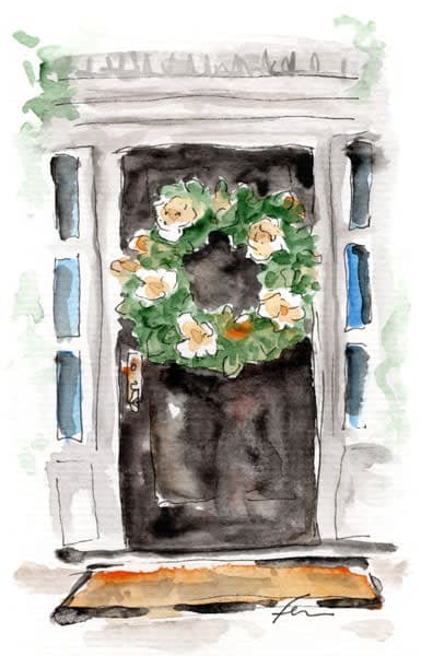Door with Magnolia Wreath