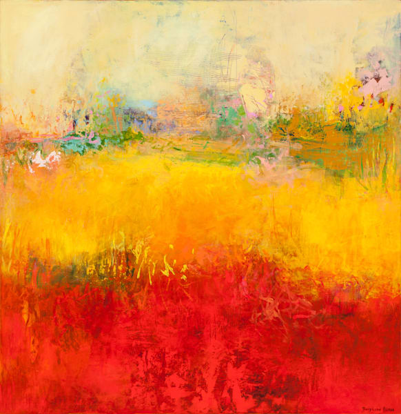 Modern bright red-gold abstract landscape painting.