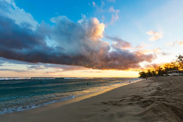 White Plains Beach At Sunset In Hawaii Photograph For Sale As Fine Art