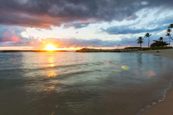 Sunset At Ko'Olina's Lagoon 4 in Hawaii Photograph For Sale As Fine Art