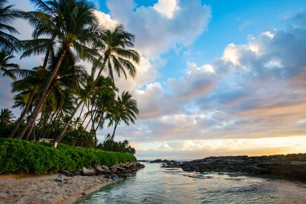 View Toward Lanikuhonua Lagoon in Hawaii For Sale As Fine Art