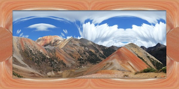Red Mountain Blaze print of photographs of Corkscrew pass transformed into digital art by Maureen Wilks