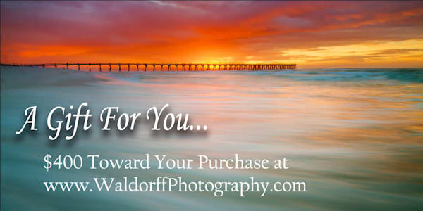 $400 Emerald Coast of Florida Gift Card to purchase Fine Art Prints on Canvas, Paper, Metal, & More | Waldorff Photography