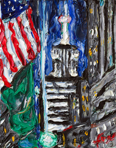 Empire State Building with Flag Art Print