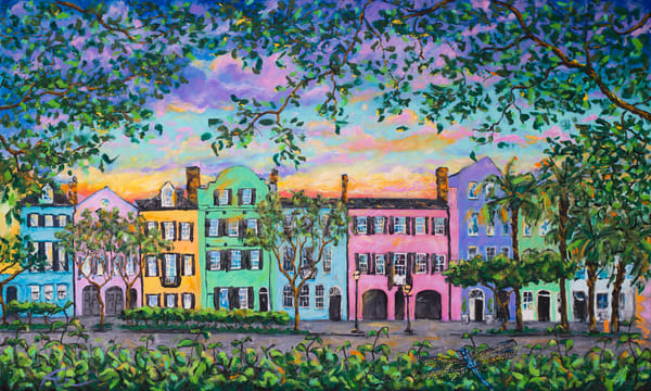 Rainbow Row, Rainbow Sky Art Print