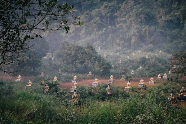 Fine Art Prints, Buddha's in a Misty Field, Hpa An, Burma