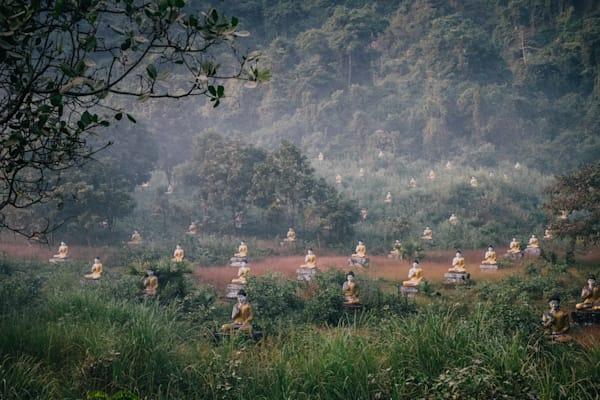 Fine Art Prints, Buddha's in a Misty Field, Hpa An, Burma
