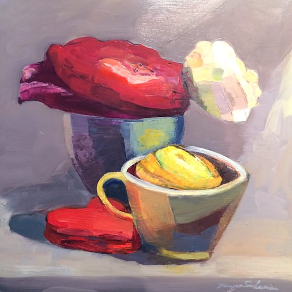 """""""Magenta Yellow and  Cream Ranunculus Still Life in Vintage Egg Cup and Mini Tea Cup """"Loads of character!. Original Francophile art by Monique Sarkessian.Oil painting on canvas measures 20""""x20""""x1.5"""", oil paint and mixed media on wood cradleboard. Fr"""