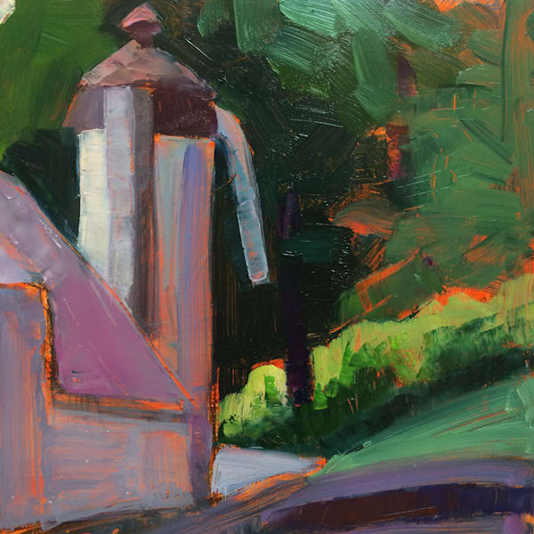"""Glowy 2"" farm plein air oil painting in afternoon light with silo. Loads of character! Original Francophile art by Monique Sarkessian. Oil painting on wood measures 10"" x 10"""
