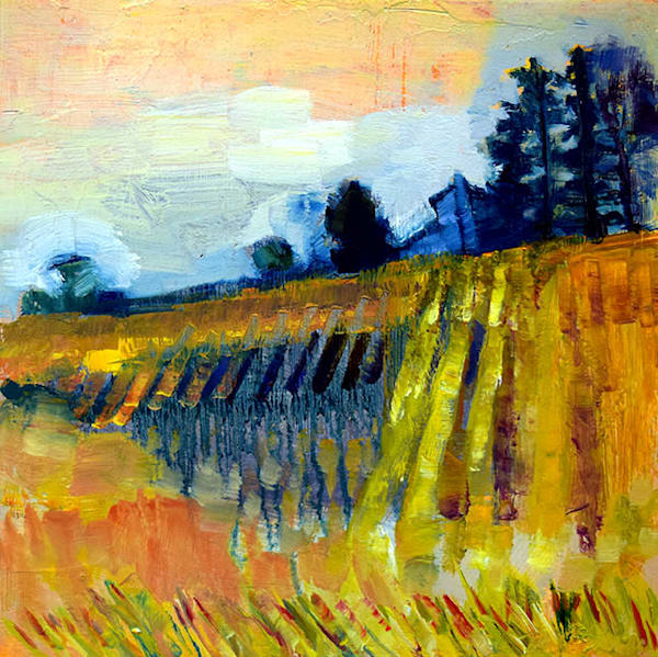 Original plein air oil painting by Monique Sarkessian of a gorgeous farm, with a lovely farmhouse, corn fields and soybeans out front.