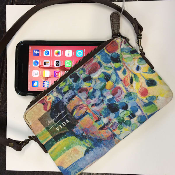 """ Radiant Woman 12, Eucalyptus Joys"" encaustic wax painting hand printed on a well crafted canvas and leather strap bag. Pictured here with the large iPhone * plus (not included) so you can see you still have room for a large phone, money, a lipsti"