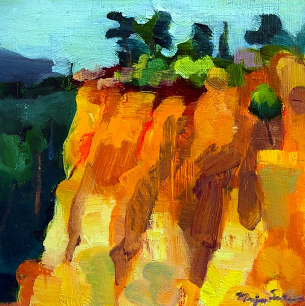 Oil painting of France Rousillion village in  France with beautiful ochre cliffs.