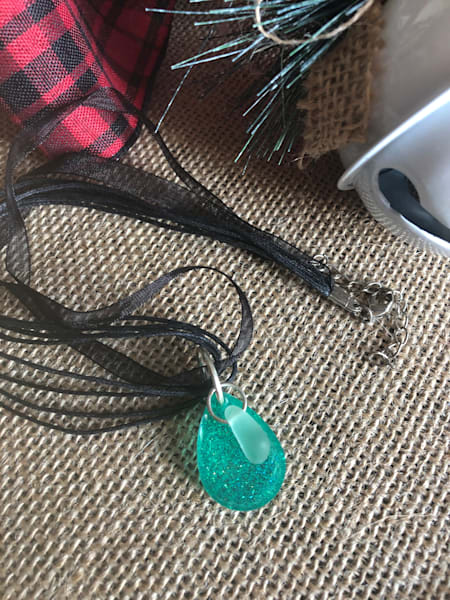 Sea Glass and Resin Necklace (Sea Foam Green)