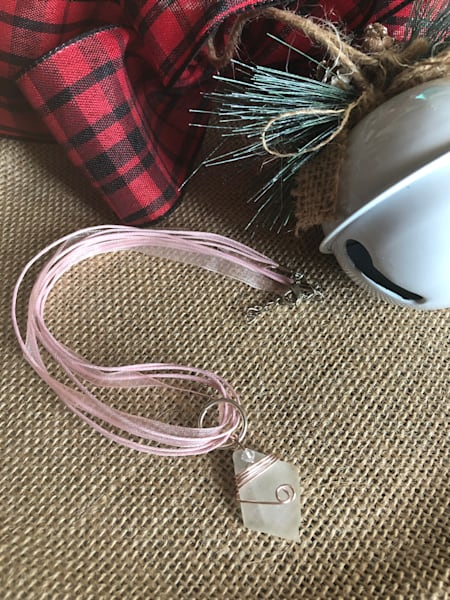 Wire Wrapped Sea Glass Necklace (Pink and White)
