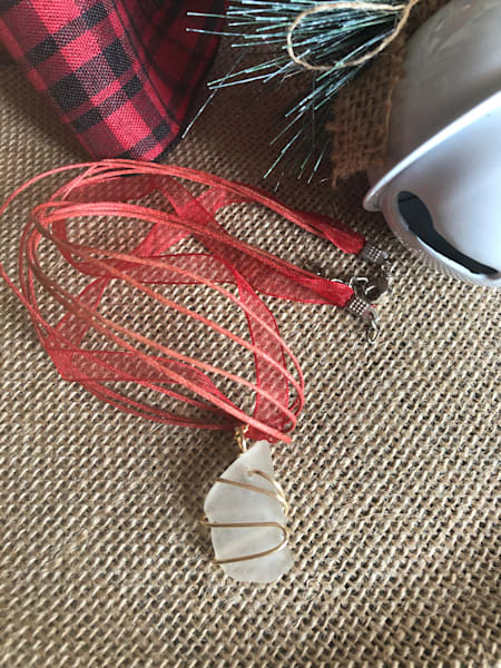 Wire Wrapped Sea Glass Necklace (Red and White)