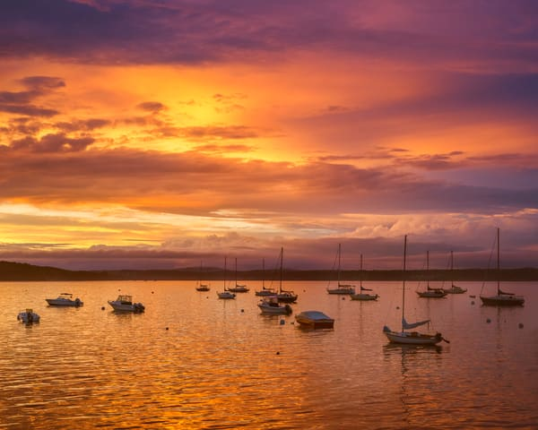 Golden Sunset at Bayside Harbor in Maine
