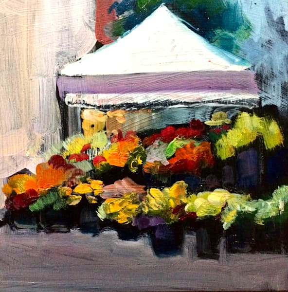 """Market Day 1"" plein air oil painting by Monique Sarkessian from Philadelphia's Rittenhouse Square farmer's market."
