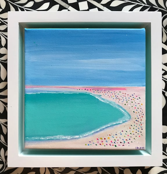 DAY AT THE BEACH 8 X 8 FRAMED