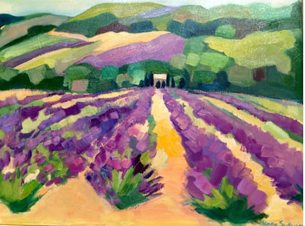 Plein air oil painting done in Provence in the south of France by Monique Sarkessian. I painted this gorgeous lavender field and then had a delicious lunch what could be better?