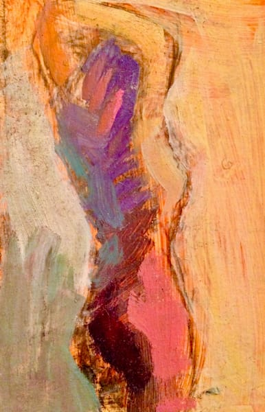 "Striking ""Ambient"" nude, female figure alla prima oil painting. Original fine art by Monique Sarkessian. Oil painting on wood measures 6""x4"" Lush Vibrant jewel tone color for your walls!  France for your best spaces. T"