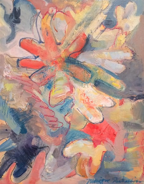 """Abstracted heavenly figures original oil painting by Monique Sarkessian 10""""x8"""" oil on wood, framed."""