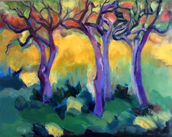 """""""Where Your Glory Dwells I """". Amazing statuesque crab apple trees with twisting trunks and boughs  24"""" x30"""", oil on canvas ,"""